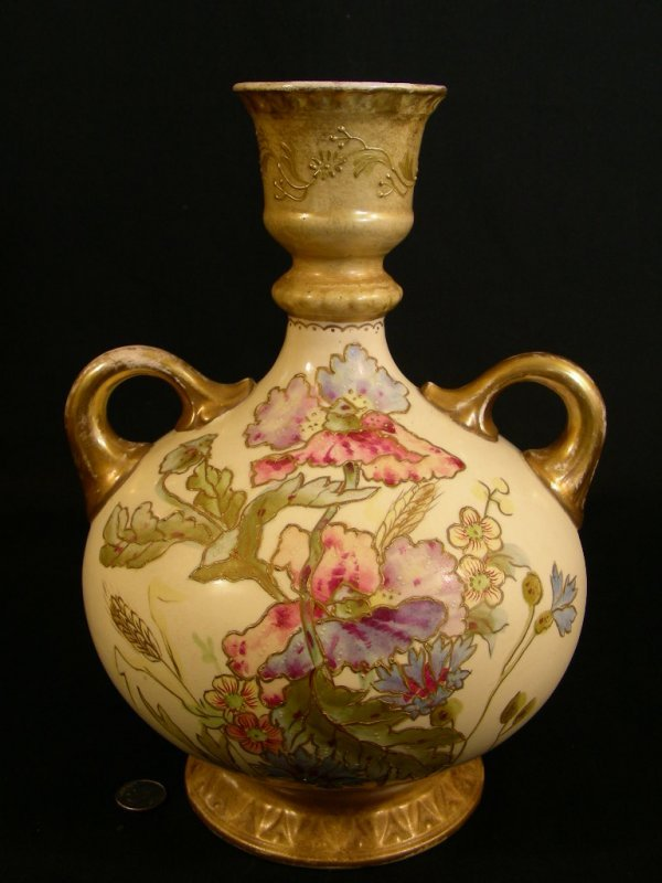 610: ANTIQUE ROYAL BONN HAND PAINTED PORCELAIN EWER