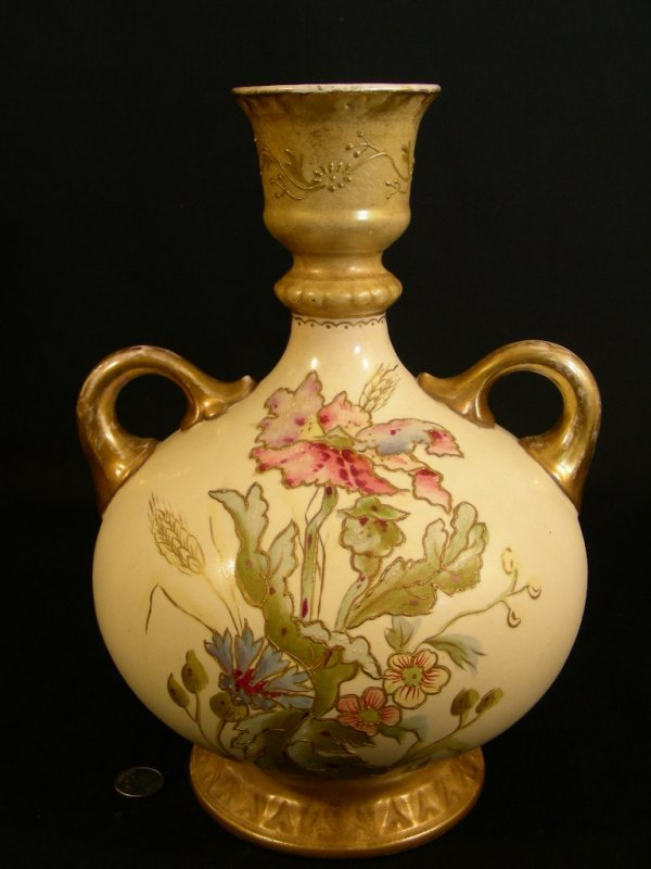 610: ANTIQUE ROYAL BONN HAND PAINTED PORCELAIN EWER - 2