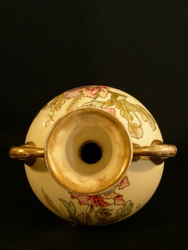 610: ANTIQUE ROYAL BONN HAND PAINTED PORCELAIN EWER - 3