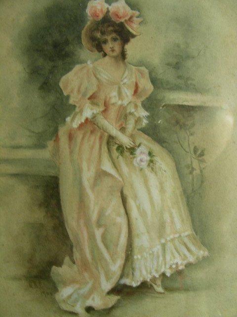 611A: ANTIQUE WATERCOLOR 1900 VICTORIAN WOMAN  ROSES
