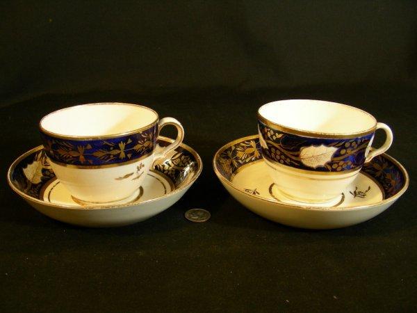 612: SPODE COBALT PORCELAIN CUPS SAUCERS CR 1810 2 SETS