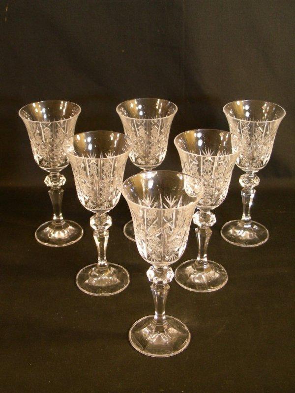 621: SIX CZECH CUT CRYSTAL GLASSES