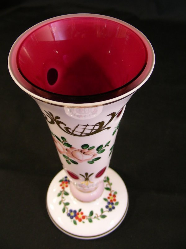 622: HAND PAINTED  ENAMELED CASED GLASS VASE
