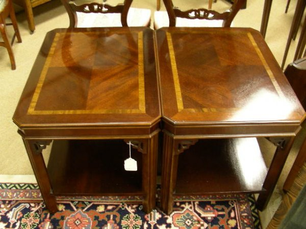 636: CHIPPENDALE STYLE WOODEN END TABLES LANE FURNITURE
