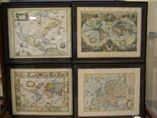 666A: FOUR HAND COLORED ENGRAVED OLD WORLD MAP  MAPS