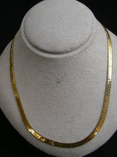 "770: 14 KT ITALIAN GOLD SERPENTINE CHAIN NECKLACE 18"" - 2"