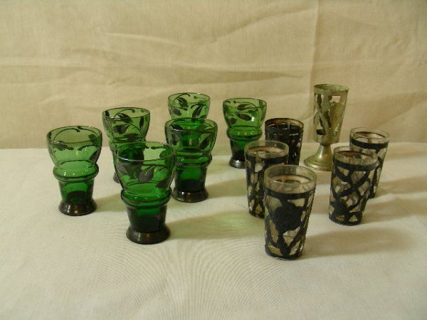 936: STERLING SILVER CORDIALS WITH GLASS INSERTS 13 PCS