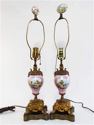 PAIR FRENCH SEVRES STYLE PORCELAIN MOUNTED TABLE LAMPS
