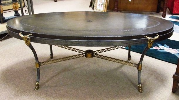 MAITLAND SMITH GREY LEATHER RAMS HEAD COFFEE TABLE
