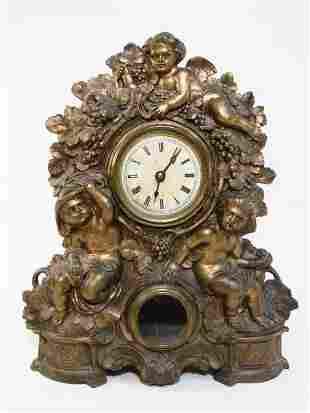 19TH C NICHOLAS MULLER CAST METAL SHELF CLOCK