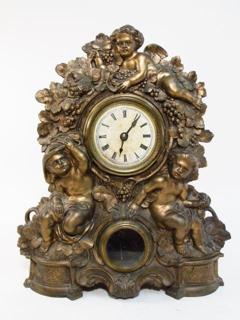 19TH C NICHOLAS MULLER CAST METAL SHELF CLOCK