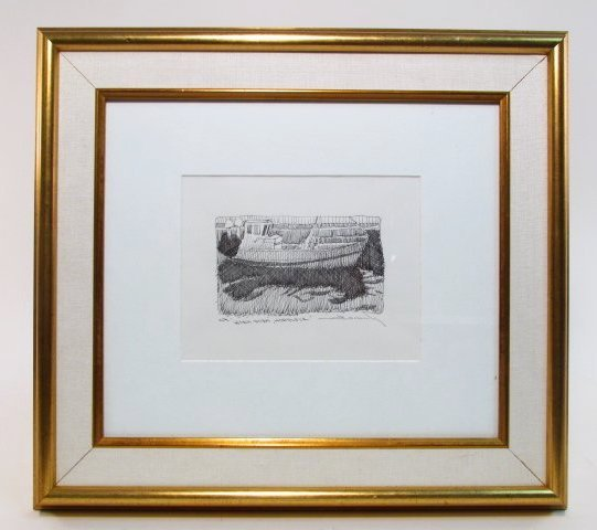 FRAMED C.W. MUNDY PEN DRAWING ON PAPER