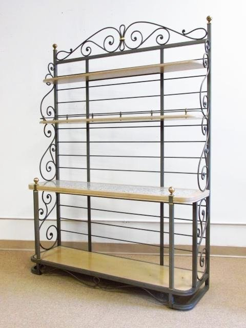 WOOD & METAL BAKER'S RACK W/ GRANITE INLAY