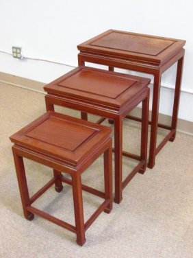 SET OF THREE ROSEWOOD NESTING TABLES by GEORGE ZEE