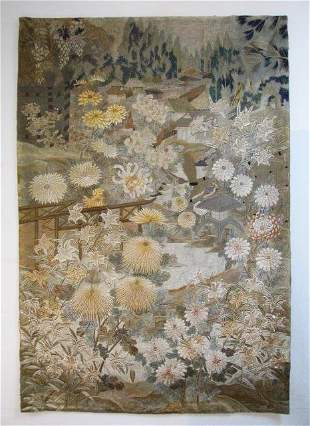 CHINESE HAND STITCHED SILK FABRIC SCENIC TAPESTRY