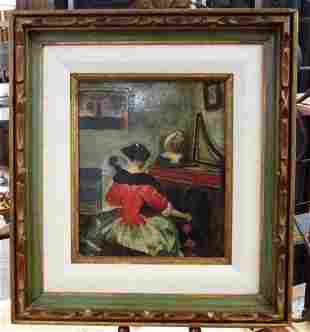 CONNIE NELSON OIL ON CANVAS PAINTING: INTERIOR SCENE