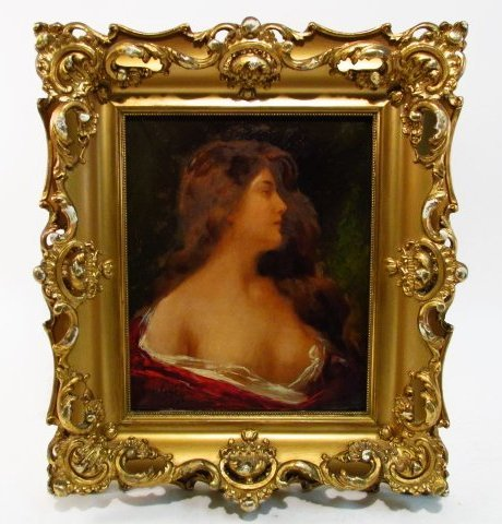 ANGELO ASTI 19TH CENTURY OIL ON CANVAS PAINTING: