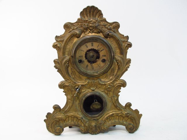 19TH C AMERICAN CLOCK CO ROCOCO STYLE SHELF CLOCK