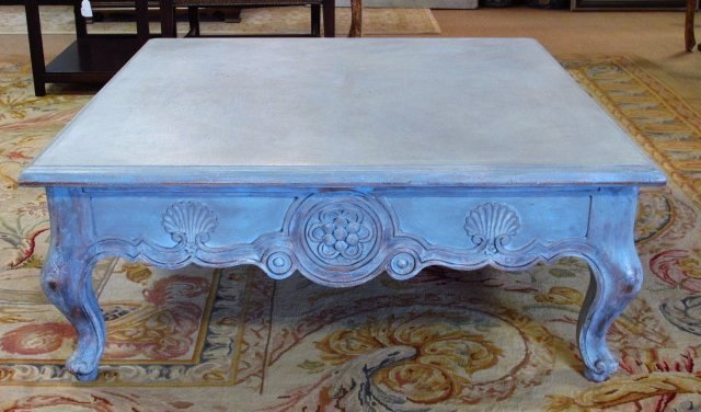 CUSTOM ANNIE SLOAN PAINTED BLUE COFFEE TABLE