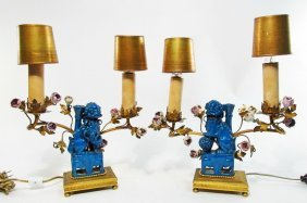 PAIR FRENCH ORMOLU & CHINESE PORCELAIN BOUDOIR LAMPS