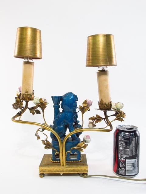 PAIR FRENCH ORMOLU & CHINESE PORCELAIN BOUDOIR LAMPS - 7