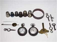 SMALL LOT ESTATE SILVER: POCKET WATCHES, THIMBLES, ETC.
