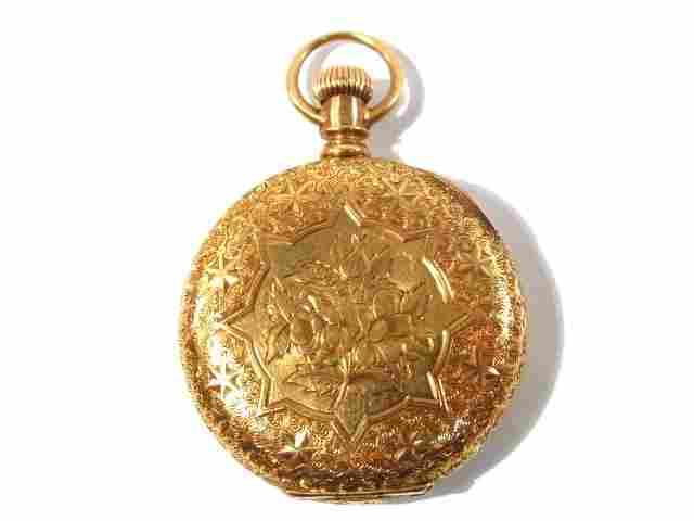 WALTHAM 18K GOLD 1887 HUNTER CASE POCKET WATCH