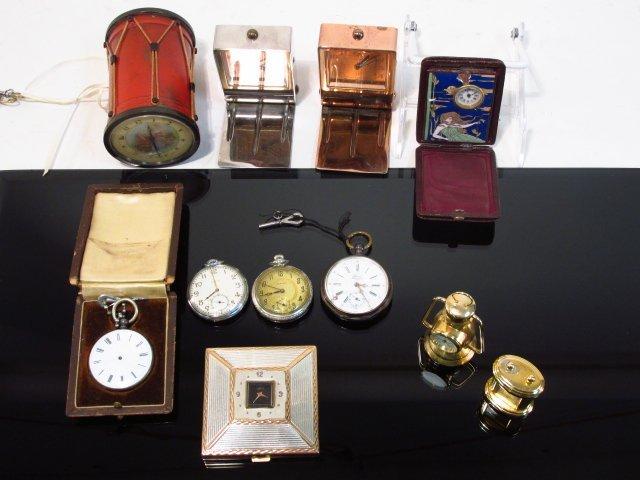 ELEVEN VINTAGE CLOCKS & WATCHES: LECOULTRE, ELGIN, ETC.