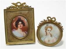 TWO ANTIQUE MINIATURE PORTRAITS: PORCELAIN & IVORY