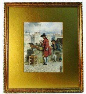 GUSTAVE DAVID WATERCOLOR PAINTING: PARIS BOUQUINISTES