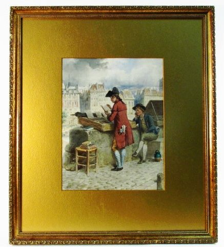 GUSTAVE DAVID WATERCOLOR PAINTING: PARIS BOUQUINISTES