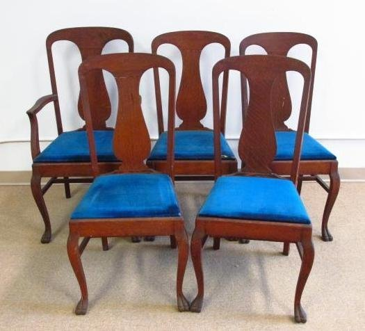 FIVE TIGER OAK DINING CHAIRS