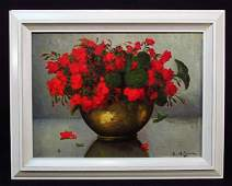 SMALL 19TH C OIL ON CANVAS STILL LIFE PAINTING