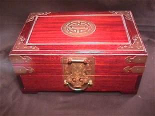 ASIAN WOOD BRASS JEWELRY BOX