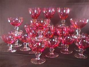 22 PIECES CRANBERRY FLASH GLASS STEMWARE