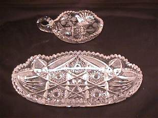CRYSTAL BRILLIANT CUT GLASS OBLONG DISH AND NAPPY
