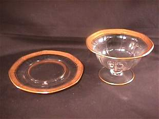 OLD DEPRESSION GLASS MAYONNAISE BOWL UNDER PLATE