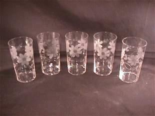 VINTAGE ETCHED CRYSTAL TUMBLERS GLASSES 5 pcs
