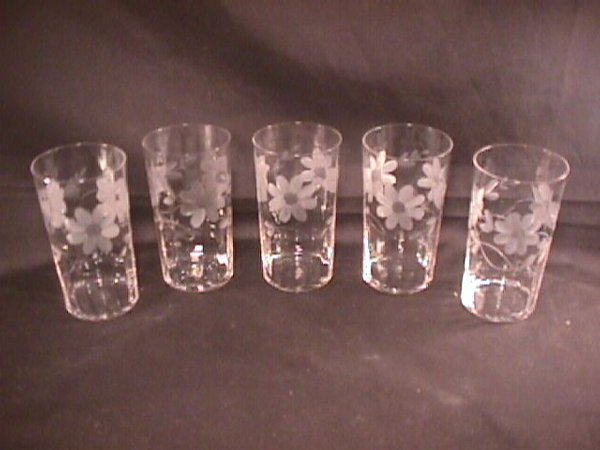 20: VINTAGE ETCHED CRYSTAL TUMBLERS GLASSES 5 pcs