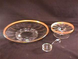 OLD HEISEY GLASS GILT RIMMED PLATTER DISH LADLE