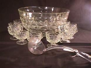 VINTAGE FOSTORIA GLASS PUNCH BOWL SET 14 PCS