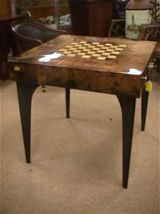 67: UNUSUAL GOAT SKIN GAME TABLE GLOSSY RESIN FINISH