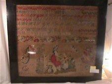 200: ANTIQUE NEEDLEWORK SAMPLER 1854 DOG RABBIT CHILD M