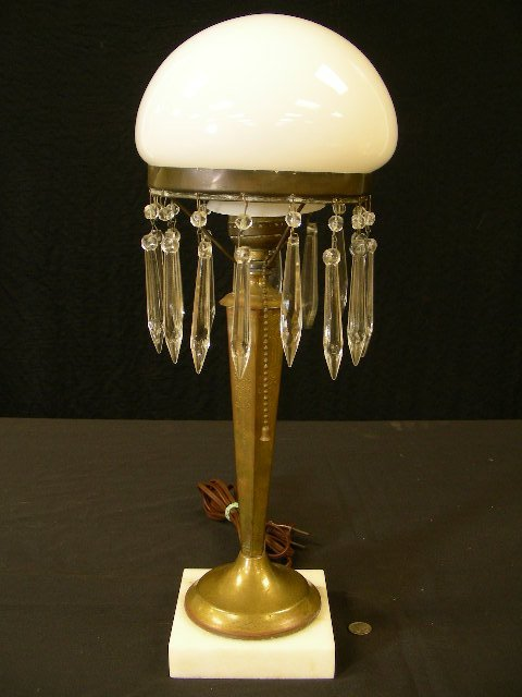 ART DECO TABLE LAMP BRASS MARBLE BASE