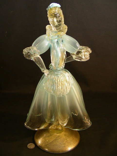 MURANO BLUE & CLEAR MICA GLASS WOMEN FIGURINE