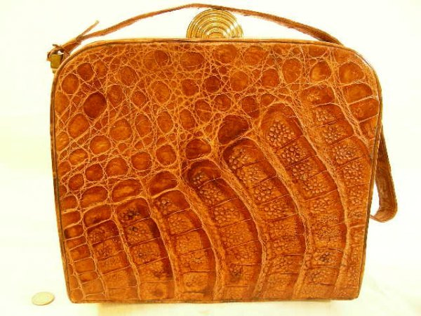 VINTAGE ALLIGATOR LEATHER PURSE HANDBAG