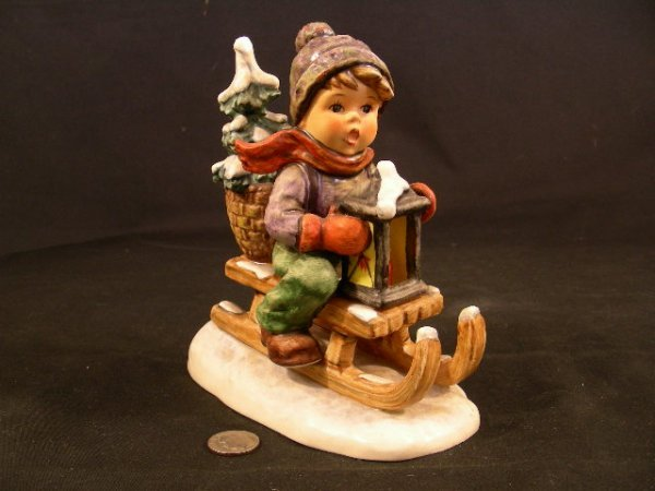 HUMMEL PORCELAIN FIGURE RIDE INTO CHRISTMAS TM5