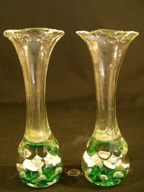 PAIR ANTIQUE PAPERWEIGHT RUFFLE EDGE GLASS VASES