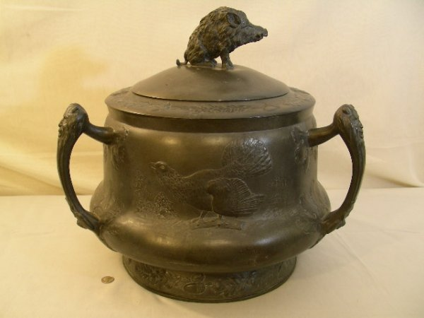 LG OLD GERMAN 3 HANDLE PEWTER TUREEN BOAR FINIAL