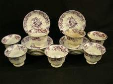 OLD PURPLE STAFFORDSHIRE TRANSFERWARE CUPS SAUCERS